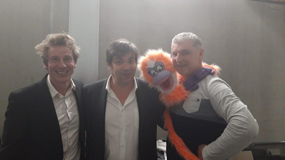 Arsène, Gérard et Christian, en coulisses après le spectacle