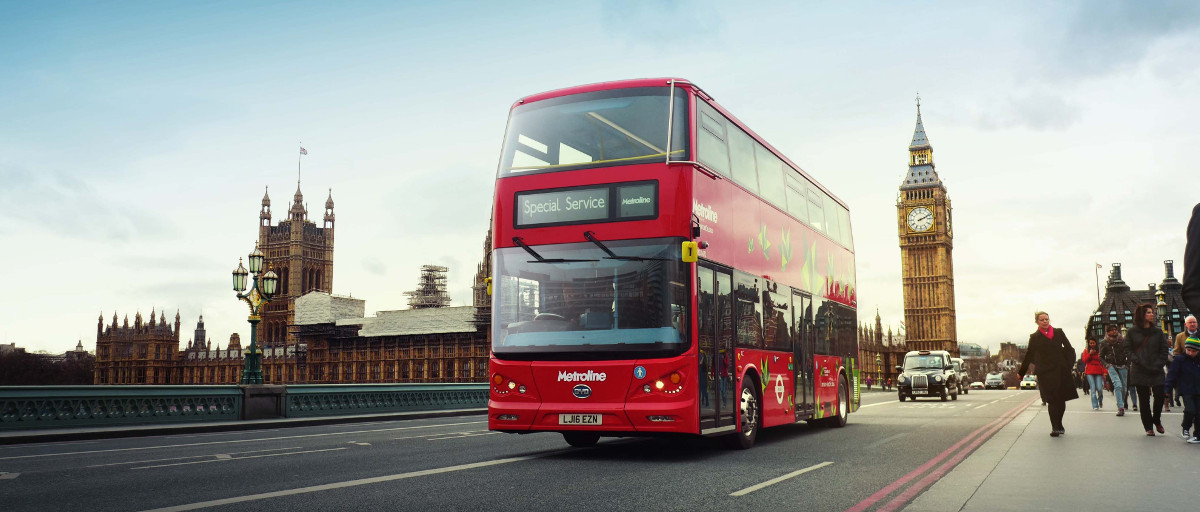 The all electric version of the iconic double decker London red bus crosses Westminster bridge as a part of the vehicles lauch event image courtesy of BYD