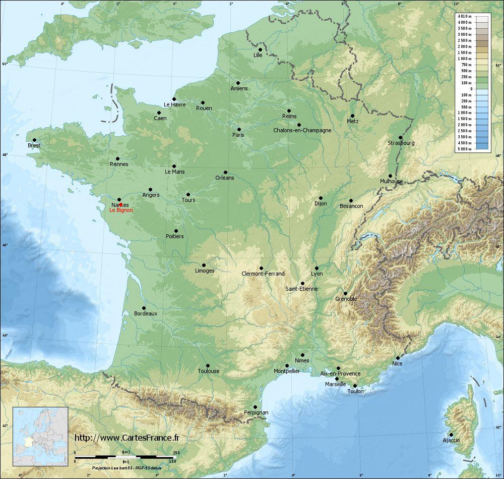 carte relief lambert grandes villes Le Bignon
